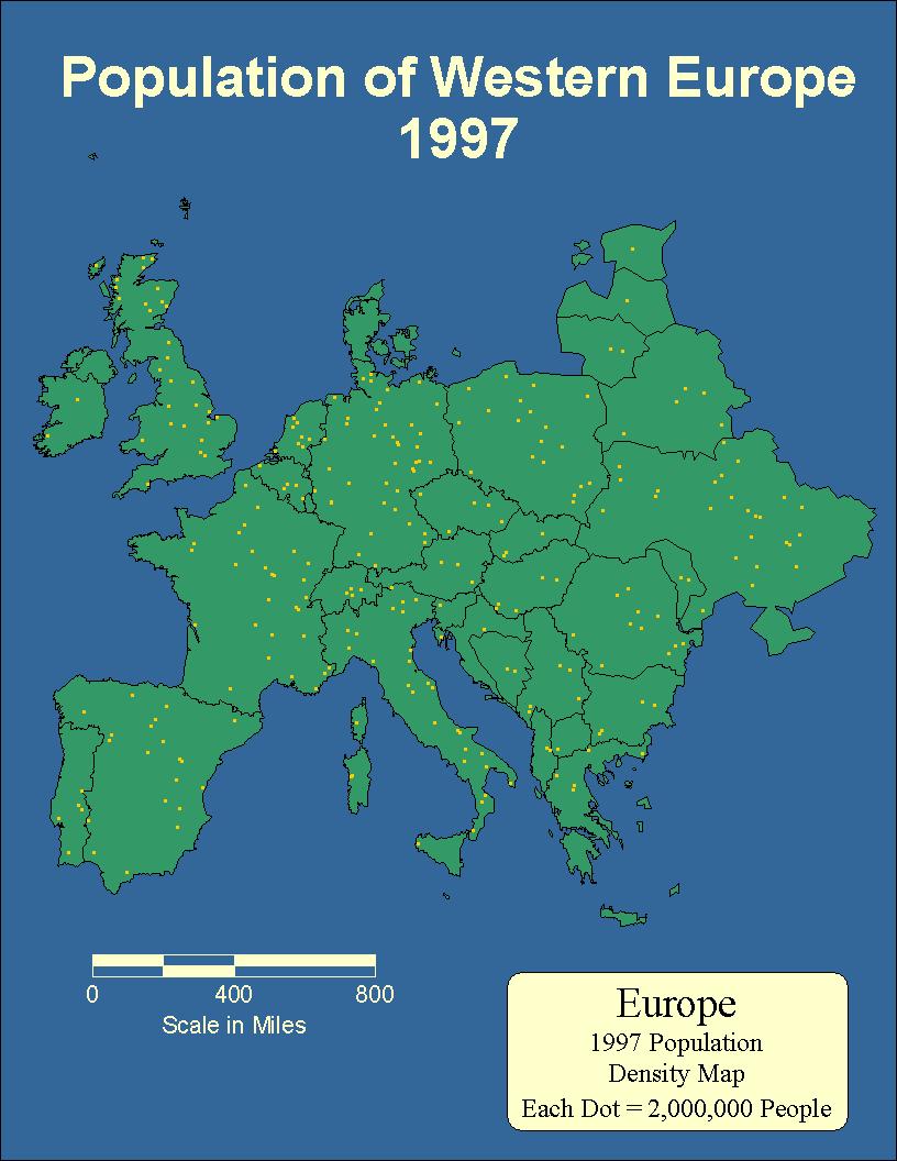西歐人口分布圖