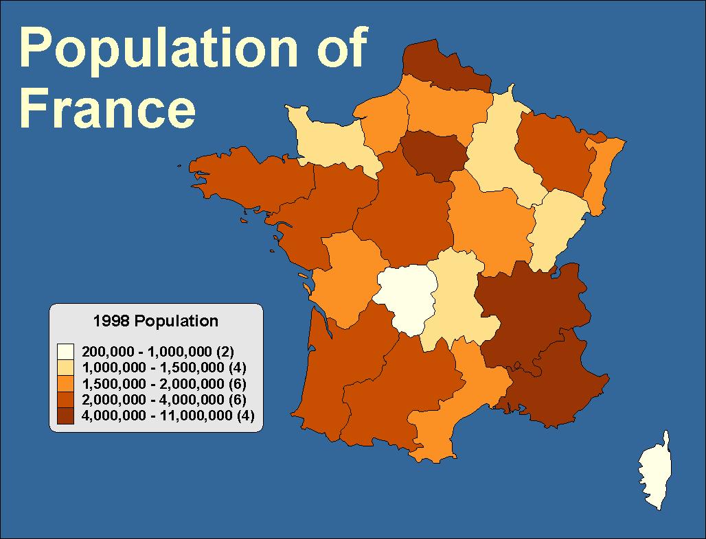 法國各省人口分配圖