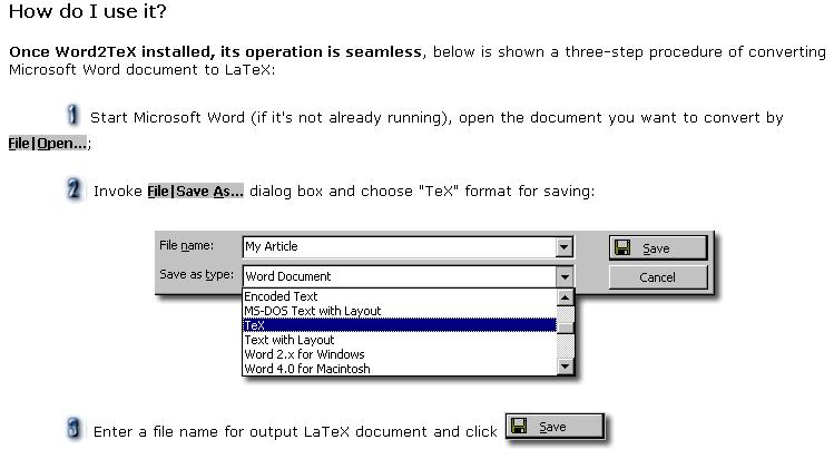 如何使用? 很容易 開啟Word檔 然後存成TeX即可