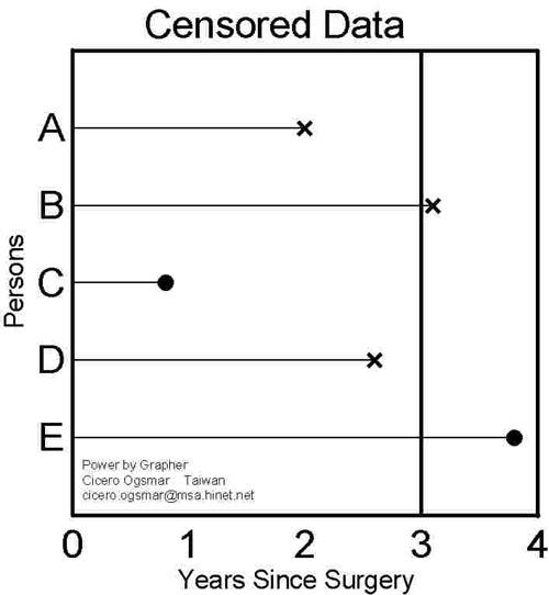 存活分析圖 Censor Data 步驟與技巧 1. Y軸為物體 X為存活時間 2. Y軸Data Range