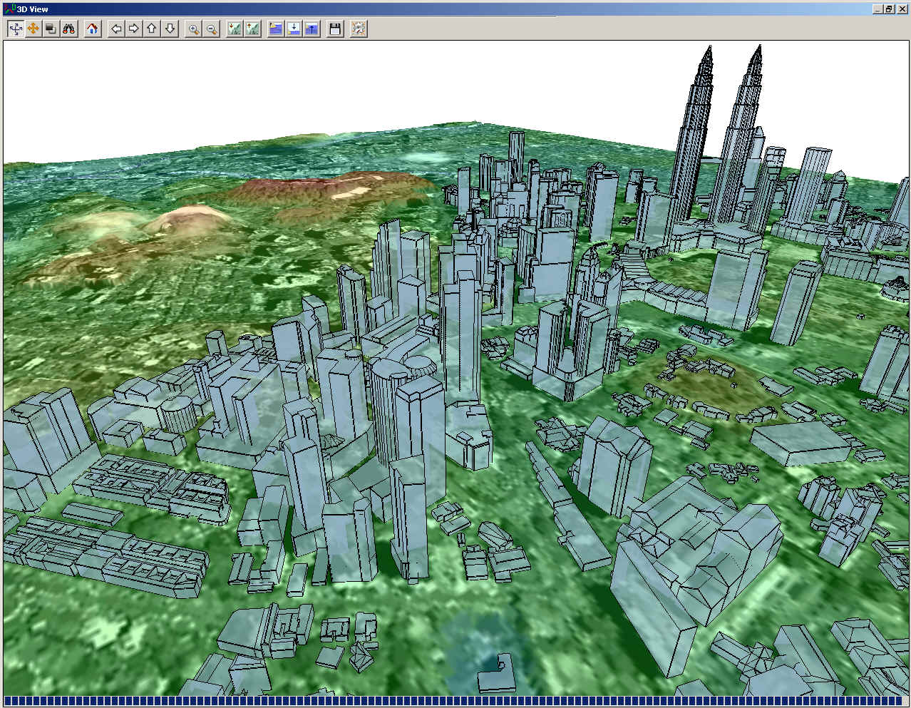 Global Mapper's 3D View window displaying a terrain surface with 3D building vectors for Kuala Lumpur, Malaysia.