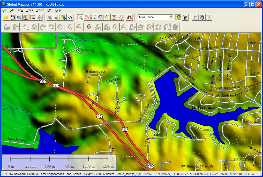 Global Mapper loaded with a 24K DEM and Tiger/Line data for an area. Notice the rich vector display and the status bar display of the street address currently under the cursor
