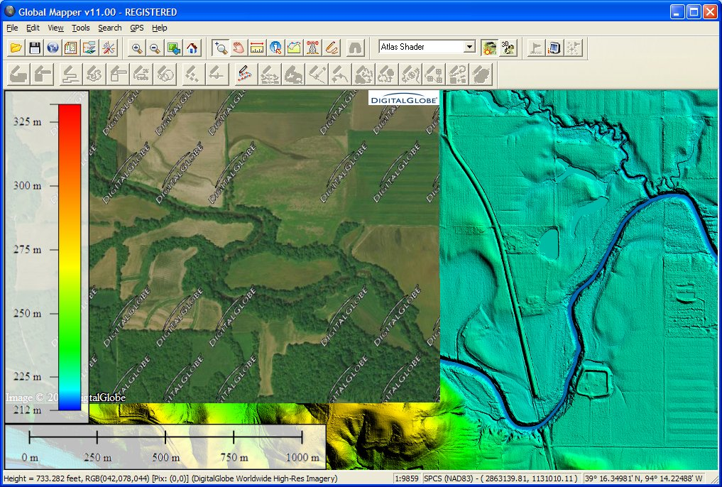 Global Mapper displaying some very high-resolution (1m per pixel) LiDAR-derived grid data with high resolution (1ft per pixel) DigitalGlobe displayed over a portion of the grid for reference